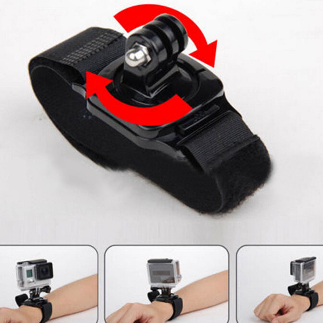 Centechia Glove Wrist Band 360 Degree Swivel Rotation Hand Strap Belt Tripod Mount For GoPro Hero 4/3+ For Go Pro SJCAM SJ4000