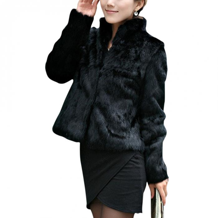 Jackets & Coats Women Faux Fur Coat Full Jacket Winter Warm Overcoat Stand Collar Slim Fit Outwear Tops H9