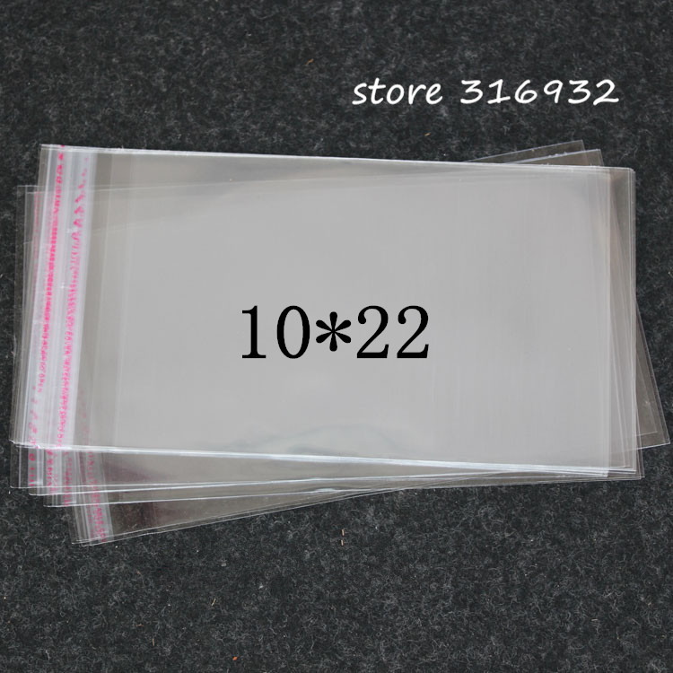 Clear Resealable Cellophane/BOPP/Poly PVC Bags 10*22cm Thicken Clear Self Adhesive Seal Plastic Bags 10*22 CM