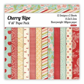Cherry ripe Scrapbooking paper pack of 24 sheets handmade craft paper craft Background pad 1