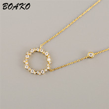 BOAKO Fashion Geometric Round Circle Pendant Necklace Minimalism Women 925 Sterling Silver Jewelry Short Chain Crystal Necklaces цена