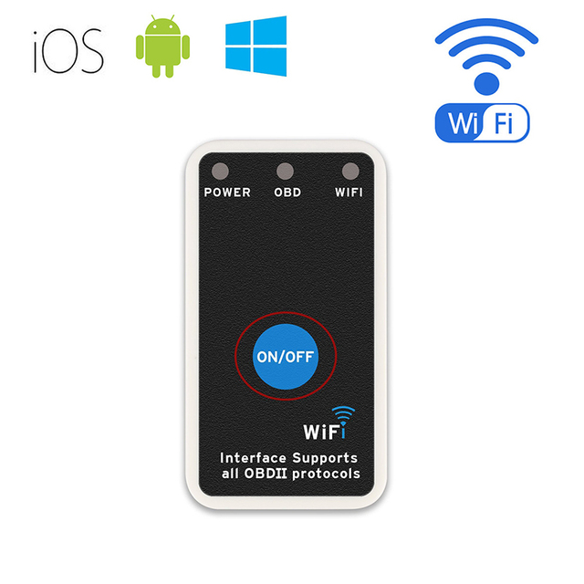 Mini Wi-fi do Scanner OBD2 ELM327 para iOS e Android, adaptador de Alimentação com Interruptor de Luz Do Motor da Verificação de Diagnóstico Leitor de Código de Problemas