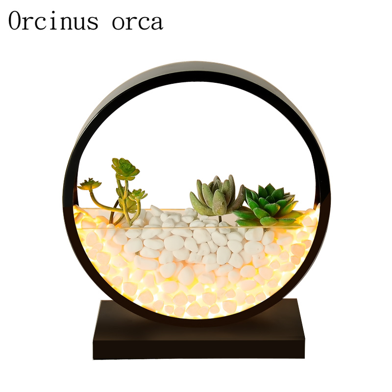 Nordic modern simple desk lamp bedroom restaurant garden warm and romantic stone desk lamp creative gift plant lamp