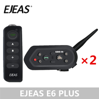 A Pair EJEAS E6 Plus Motorcycle Intercom 1200M Communicator Bluetooth Helmet Headsets VOX with Remote Control for 6 Riders