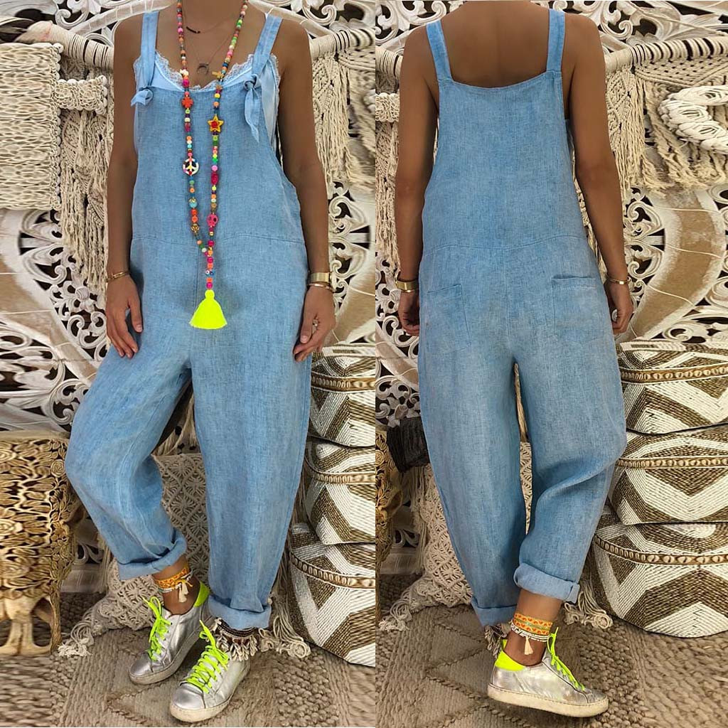 Summer Autumn New Fashion Womens Casual Loose Plus Size Denim Overalls Suspenders With Pockets   Jumpsuit   комбинезон женский Z4