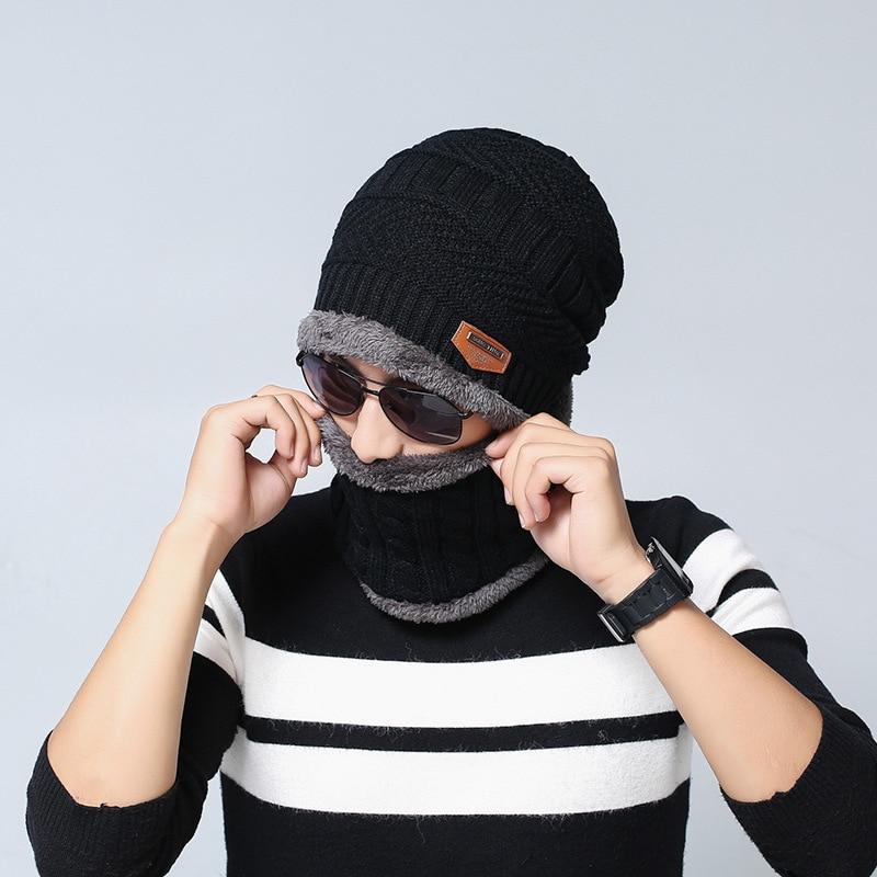 2016 knit cap scarf cap two-piece Winter Hats For Men Caps Warm Moto Fur Winter Beanie Fleece Knit Bonnet Hat balaclava