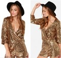LAST ONE Size XL New Golden Full Sequins Deep V-neck Jumpsuit Womens Short Rompers Long Sleeve Playsuit Overalls femme Clubwear