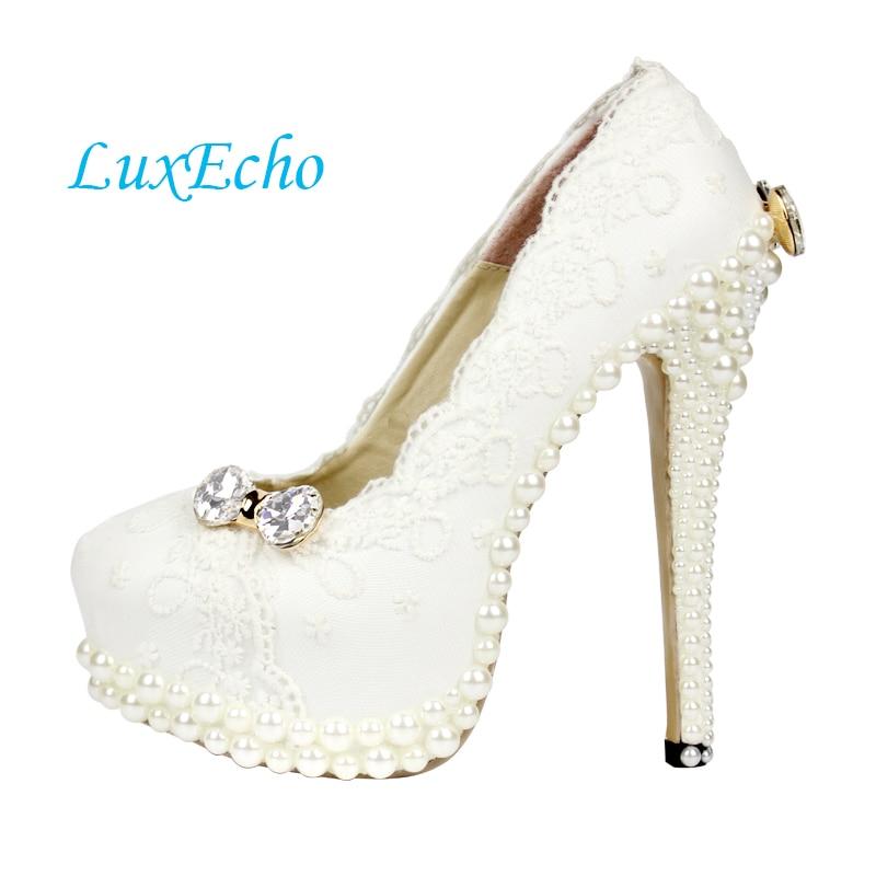 Womens white lace pearl wedding shoes woman bridal party dress shoes platform shoe high heels Pumps