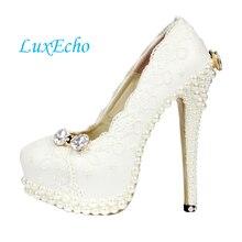 Para mujer zapatos mujer del partido nupcial del vestido de novia de encaje blanco perla zapatos zapatos de plataforma tacones altos Bombas mbt zapatos de mujer