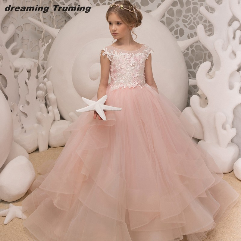 Blush Pink Ball Gown   Flower     Girls     Dresses   For Wedding With 3D   Flower   Sheer Neck First Communion   Dresses   Special Occasion   Dress