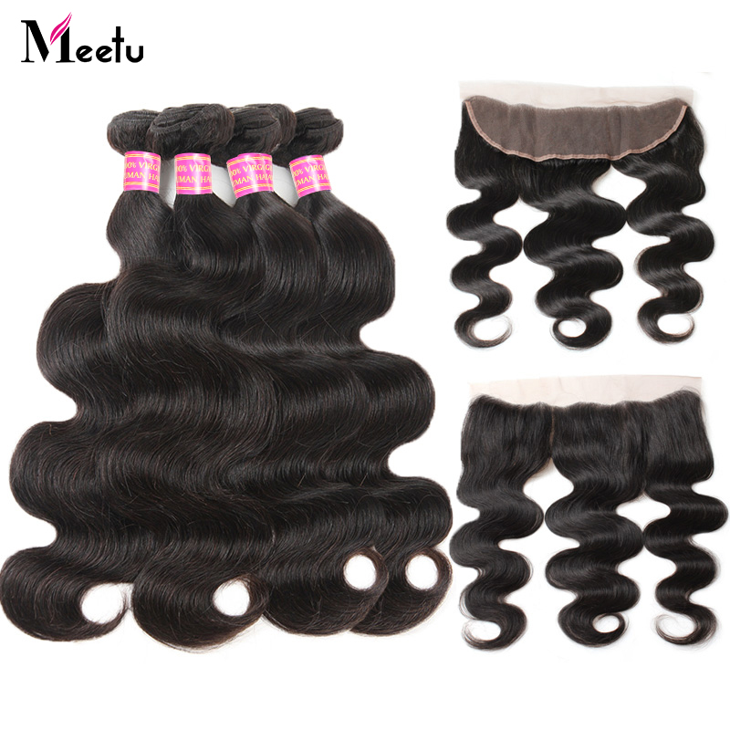 Meetu Brazilian Body Wave Bundles with Frontal Closure Free Part Human Hair Bundles with Frontal 4