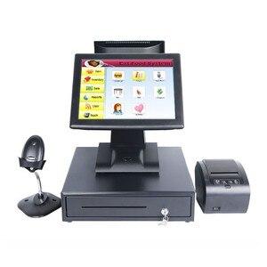 Gorący sprzedawanie podwójny System POS Tysso podwójny ekran 15 Cal zestawów detalicznych POS całkowicie terminalu POS