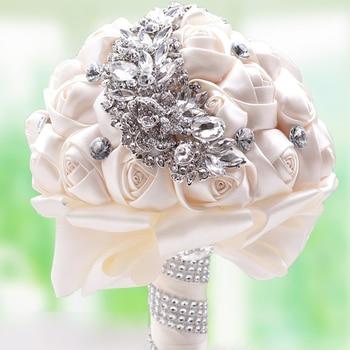 100% New Handmade Silk Rose Arititicial Flowers Bride Hand Holding Flower Rhinestones Patchwork Bridal Bride Wedding Bouquet