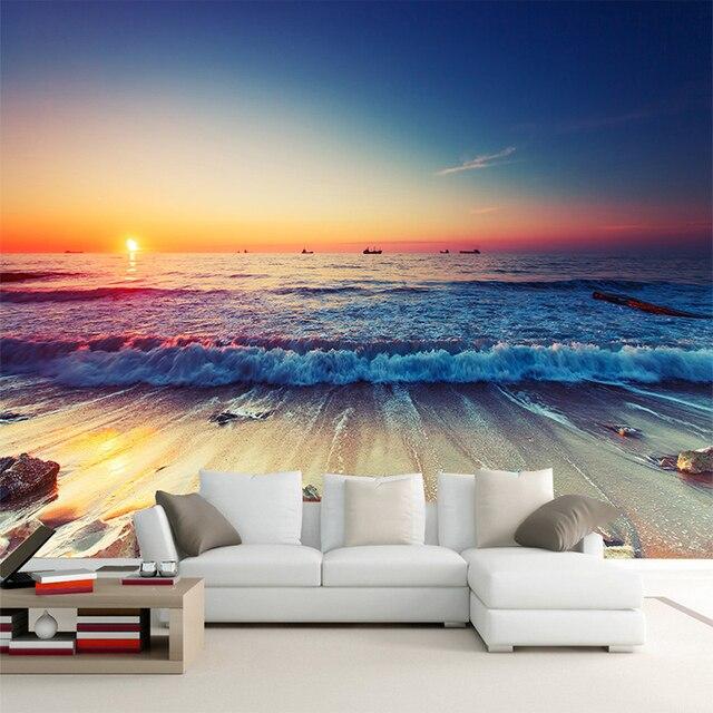 Romantico mare spiaggia al tramonto di paesaggio 3d stereo for Immagini carta da parati 3d