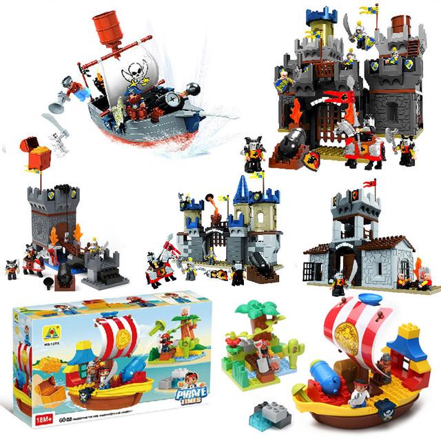 Pirata militares tamaño grande bloques de construcción creativa diy juguetes de plástico abs sluban juguetes compatibles