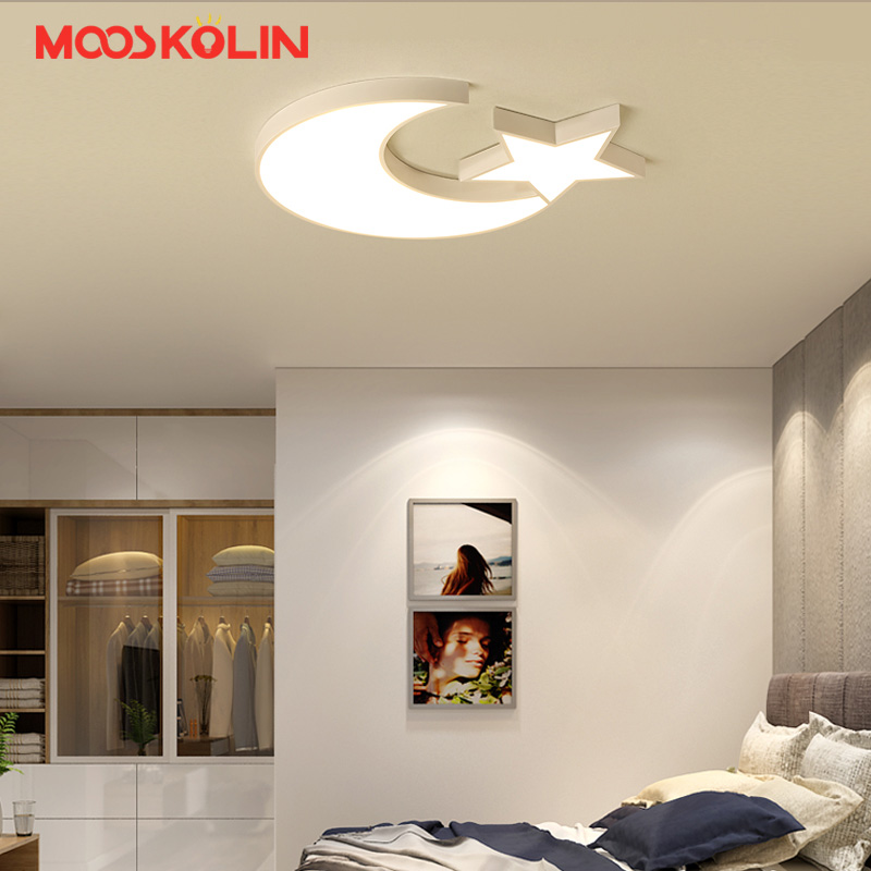 Modern LED Ceiling Lights For Kid's Bedroom Children room White five-pointed star Ceiling lamp AC96-265V Home Decoration Lamp creative star moon lampshade ceiling light 85 265v 24w led child baby room ceiling lamps foyer bedroom decoration lights