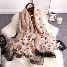 New Fashion Silk Scarf Wave Point Dot Pattern Long 135*190cm Chiffon Hijab Soft Skin-friendly Chiffon Scaves  Shawl Scarf Women цена в Москве и Питере