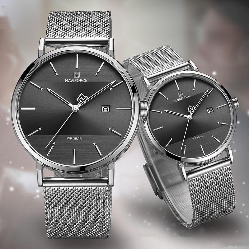 NAVIFORCE Couple Watches Clock Thin Women Lovers Luxury Waterproof Simple Quartz Male Watch Men Wristwatch For Female Watch 2020