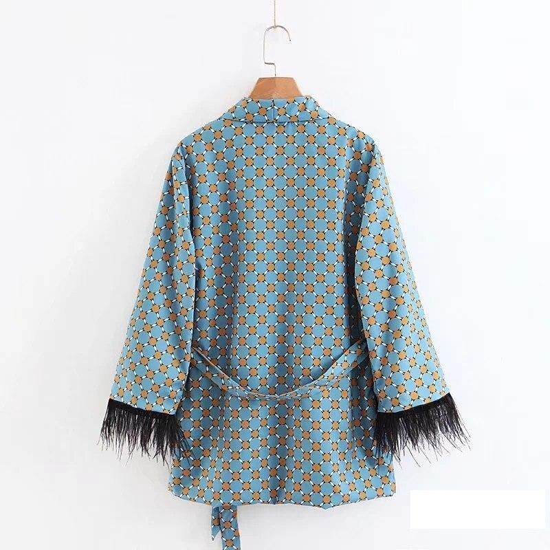 Pantalon Large As Kimono Jambe Ensemble Blazer Picture Style Et Vêtements Ceintures De Imprimés Fantaisie Taille Tiding Femmes wqPx4Uxz