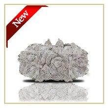 Luxus 100% Handarbeit Tasche Abendtasche mit Langen Kette Frauen Fashion Party Dressing Tasche Silber Hochzeit Geldbörse