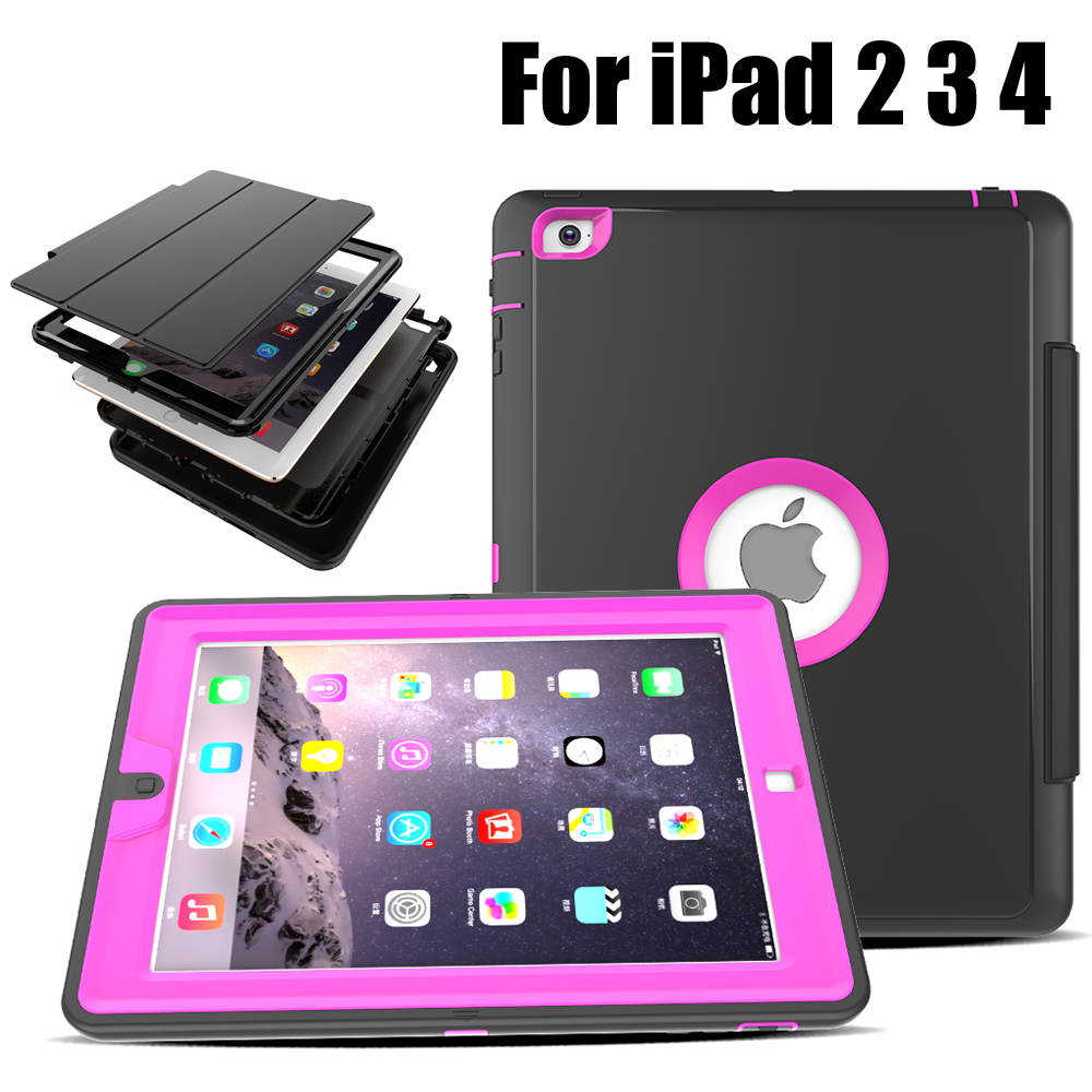 For iPad 2 3 4 Heavy Duty Shockproof Hybrid Rubber Rugged Hard Impact Protective Case Cover For iPad2/3/4 szegychx tablet case for ipad air 2 eva heavy duty shockproof hybrid rubber rugged hard protective skin safe shell cover case