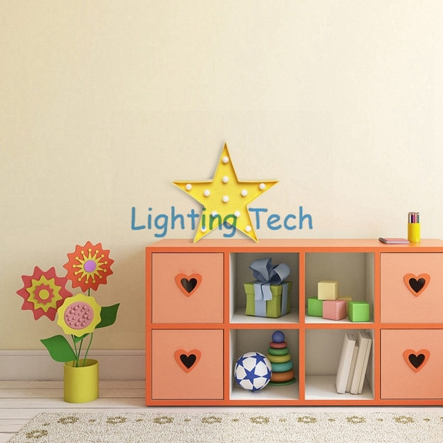 1 X Yellow Star Design 3D LED Night Light Plastic Table Lamp 2AA Battery Operated Baby Room Bedside Lights Gifts For Children