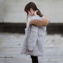 JKP 2018 new Parker baby natural fur coat children's leather rabbit fur coat girls wear big raccoon fur collar children's jacket