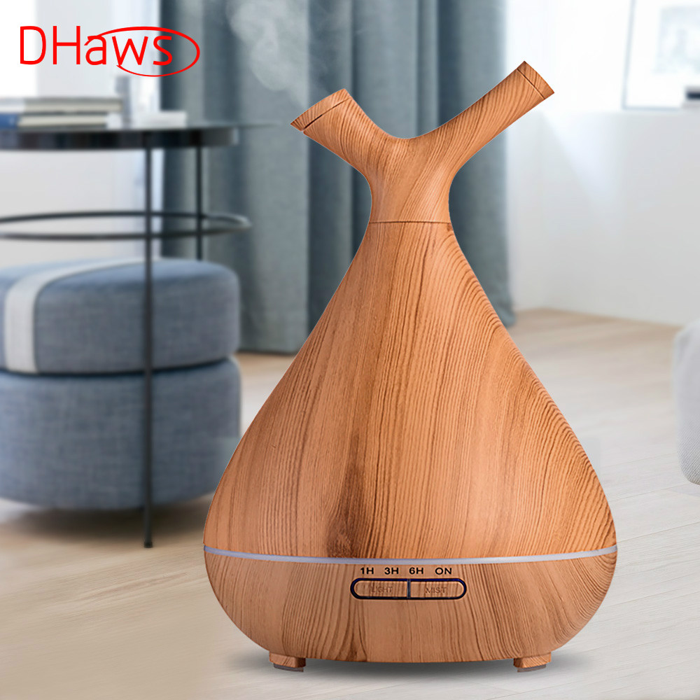 DHaws Essential Humidifier Aroma Oil Diffuser Wood Grain Ultrasonic Wood Air Humidifier Cool Mini Mist Maker LED Lights for Home