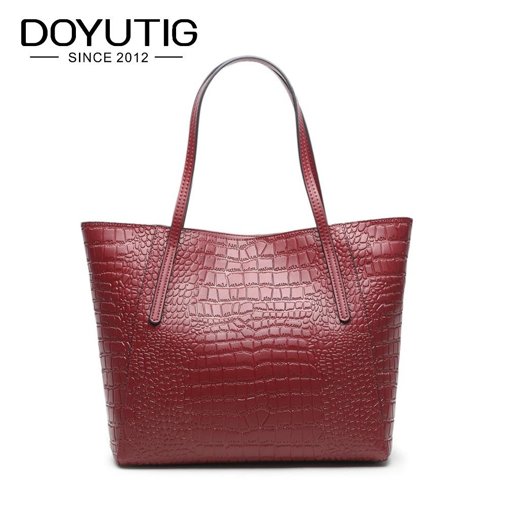 Luxury Women's Genuine Leather Big Handbag With Crocodile Pattern Lady Large Tote Bag Simple Style Female Square Big Totes F544 crocodile pattern tote bag with purse