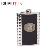 BIUBIUTUA Portable Hip Flask For Outdoor Sports 9oz Eagle Pattern Stainless Steel Whisky Alcohol Flask Best Souvenir For Friend