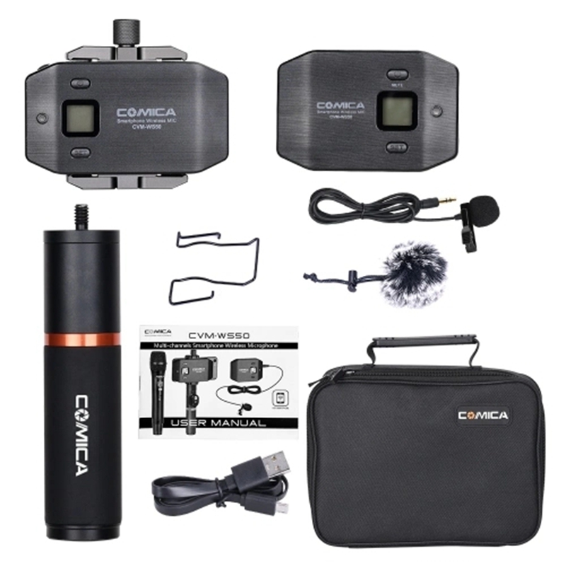 Comica Cvm-Ws50(B) 6-Channel Uhf Wireless Smartphone Lavalier Microphone System 197Ft Range With Phone Holder + Grip + Carry B