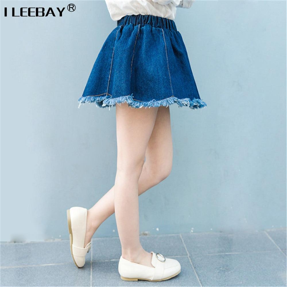 Baby Girls All-match jean Skirts Kids Casual Denim Skirts Girl Mini Cute Tassel Skirt Elastic Waist Toddler Girls Clothing 2-8y