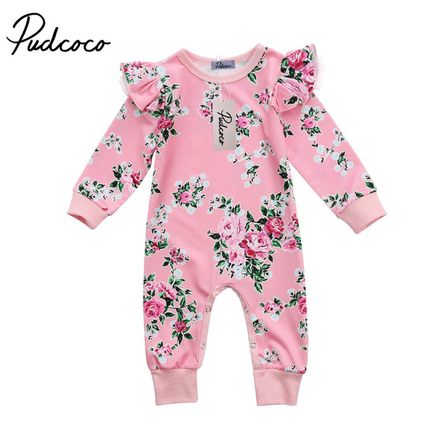 41f16cb8a Pudcoco 2018 Spring Autumn Kids Baby Girl Long Sleeve Floral Romper Jumpsuit  Printed Baby Girls Clothes Cotton Girls Romper Pink