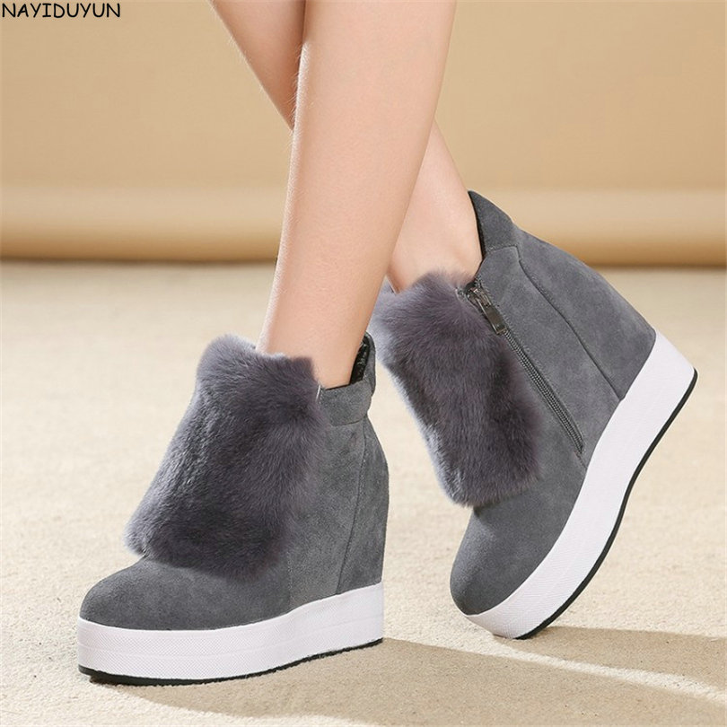 NAYIDUYUN    2017 Winter Warm Shoes Women Genuine Leather Round Toe Wedges Ankle Boots Super High Heel Rabbit Fur Platform Pumps genuine cow leather spring shoes wedges soft outsole womens casual platform shoes high heel round toe handmade shoes for women