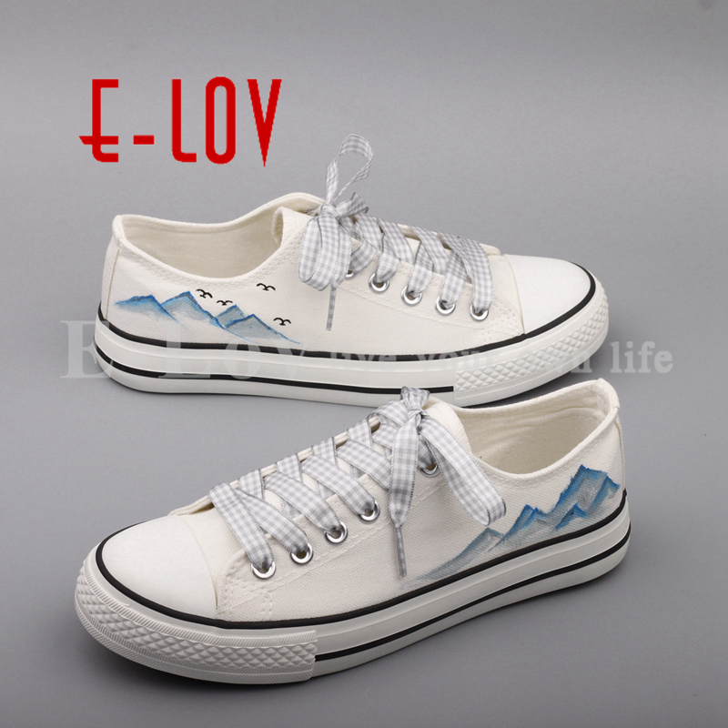 E-LOV Vintage Chinese Ink Painting Canvas Shoes Graffiti Hand Painted Casual Flats Women Espadrilles Dropshipping vintage embroidery women flats chinese floral canvas embroidered shoes national old beijing cloth single dance soft flats