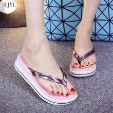 BJYL Summer High-heeled flip-flops Women Shoes 2019 Style Slip Ladies Slippers Fashion platform wedge sandals Beach shoes B185