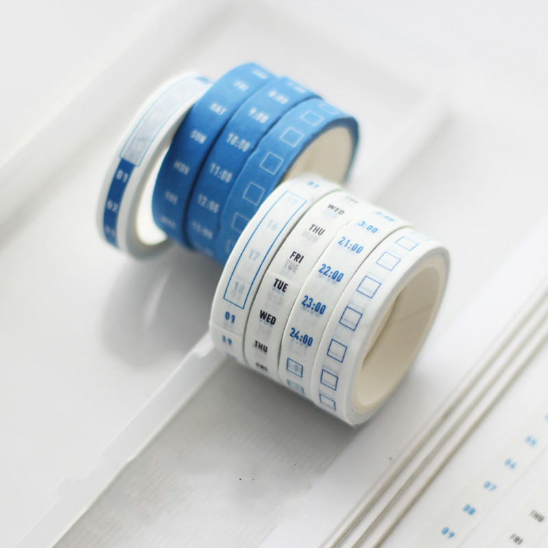 4 Rolls/set Practical Week, Date, Hours Adhesive Tape Scrapbooking Masking Washi Tape School Office Supply