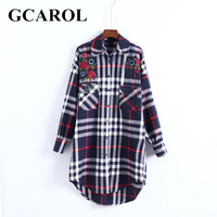 GCAROL Autumn Winter Embroidered Floral Plaid Women Long Blouse Two Pockets Oversize British Shirt Asymmetric Vintage Tops