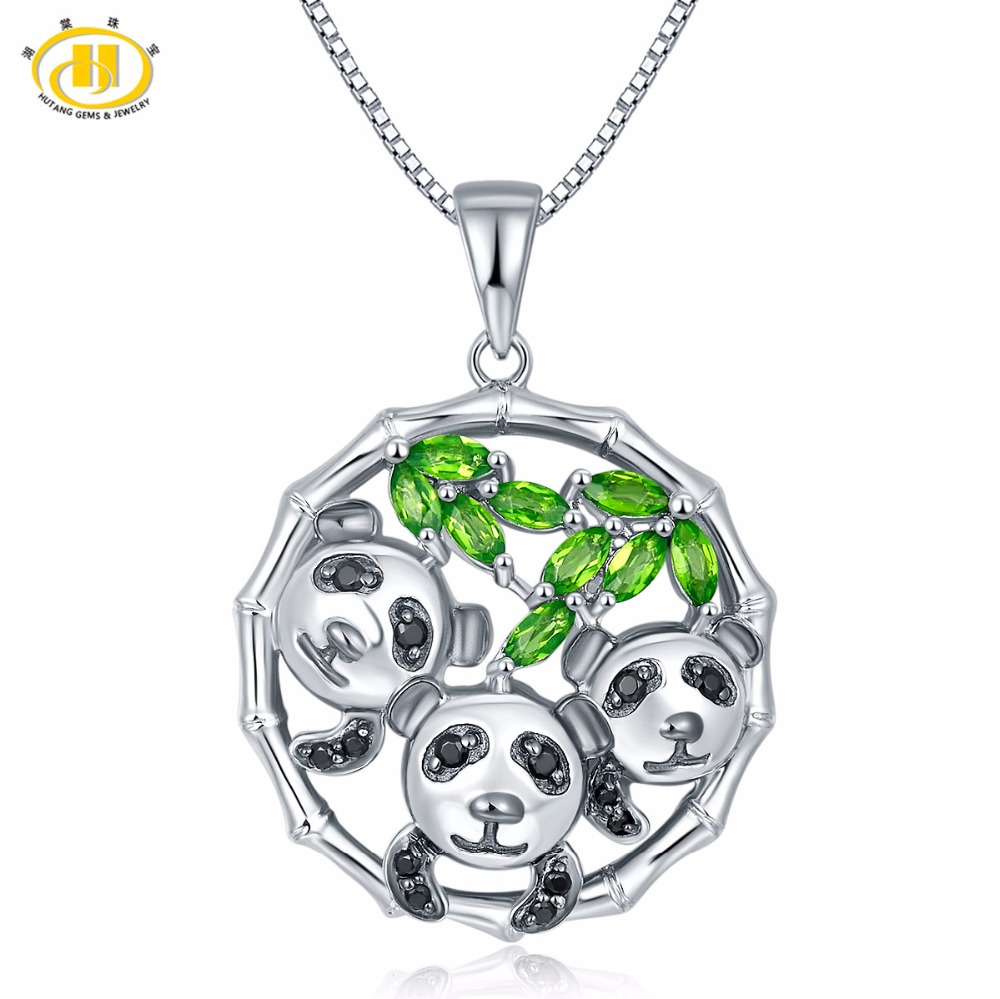 Hutang Cute Solid 925 Sterling Silver 0.72ct Natural Gemstone Chrome Diopside & Spinel Panda Pendant Necklace Jewelry For Women