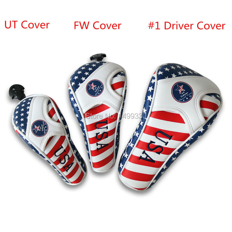 Free Shipping Craftsman USA Flag PU Leather Golf Headcovers Head Covers Driver FW UT Utility With Number Tag