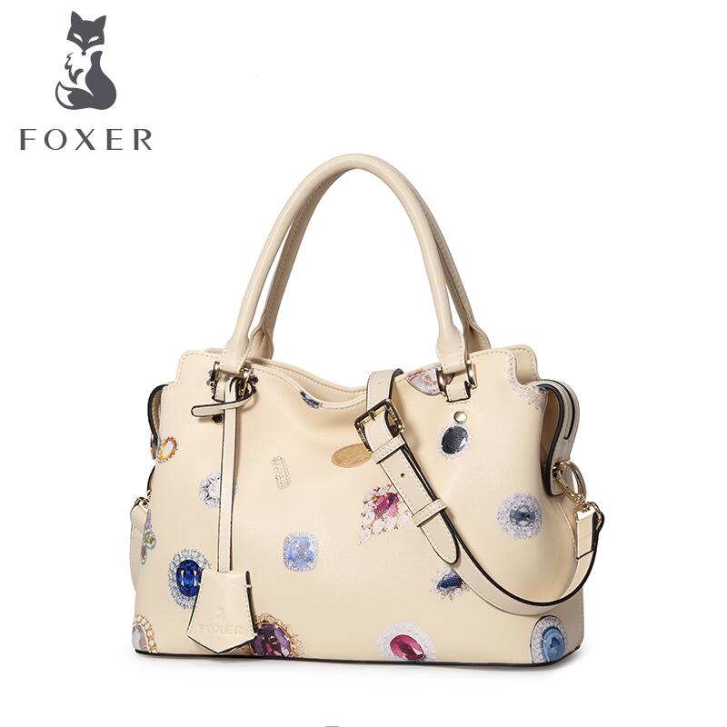 2017 New FOXER women leather bag quality fashion printing cowhide bag famous brand women leather handbag shoulder messenger bag