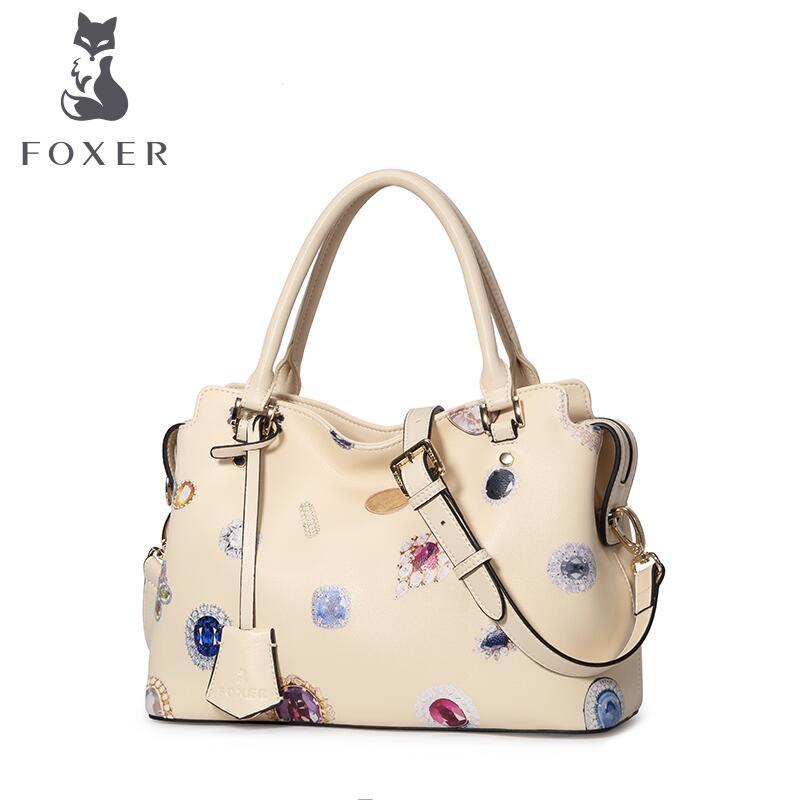 2017 New FOXER women leather bag quality  fashion printing cowhide bag famous brand women leather handbag shoulder messenger bag