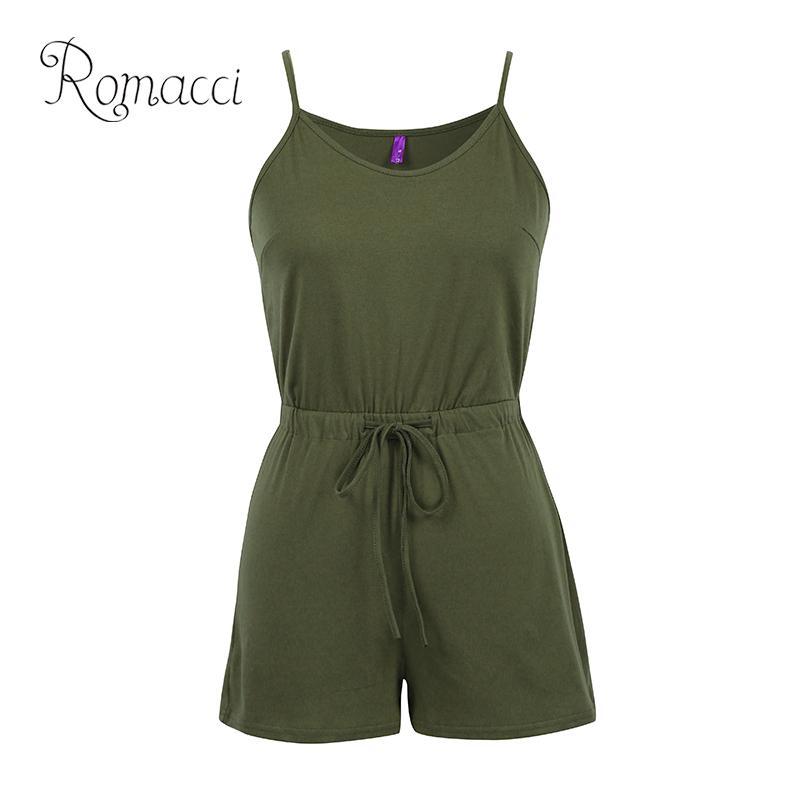 Romacci Sexy Women Solid Sleeveless Playsuit V Neck Drawstring Waist Spaghetti Strap 5XL Plus Size Rompers Slim Jumpsuit Short