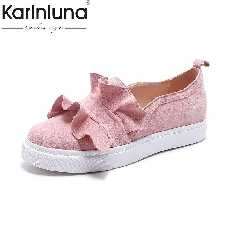 Karinluna Brand New Size 33-40 Kid Suede Leather Flats Shoes Black Pink Ruffles Casual Loafers Women Shoes Girls Footwear кабельный щит brand new f98 85 58 33 sbd7781