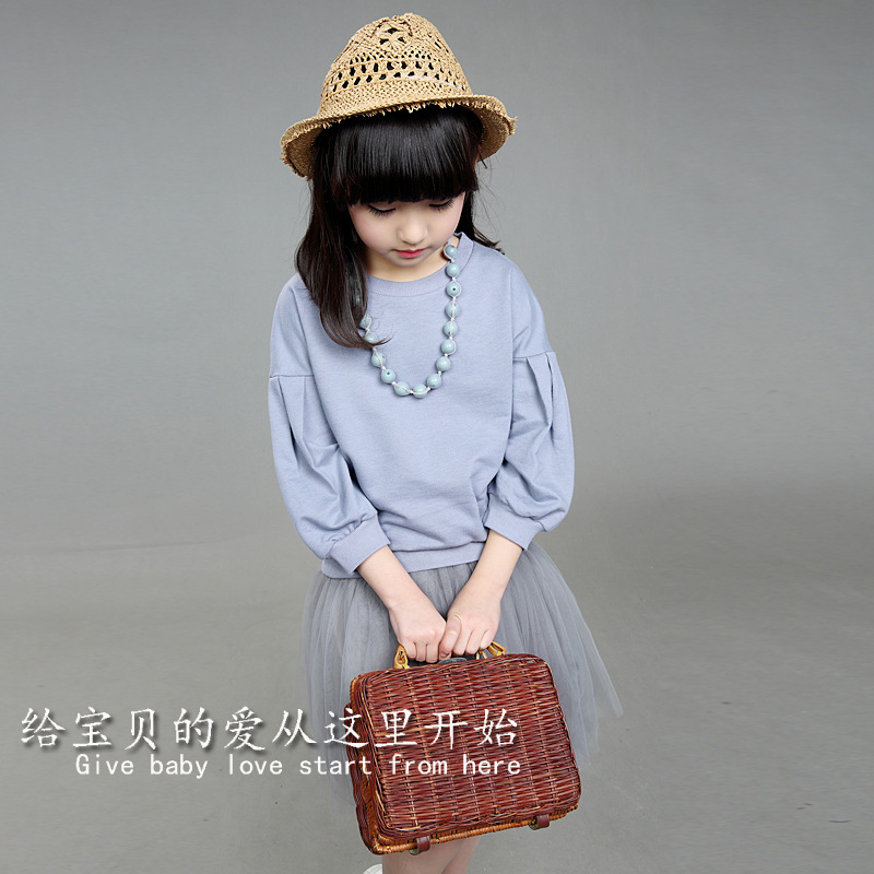 New Spring Girls Cotton T-shirt Mesh-skirt Suit Two Pieces Kids Clothing Sets Grey Cotton No Necklace