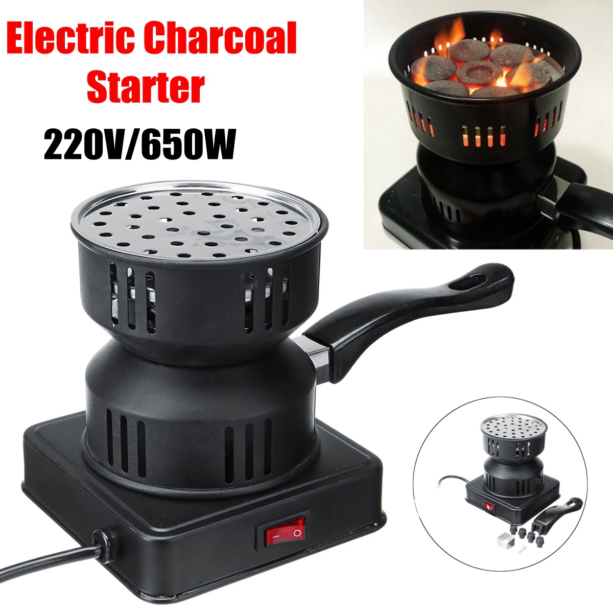 110V/220V 60HZ 650W Arabian Shisha Charcoal Burner Heater Stove Electric Camping Cooking Stove