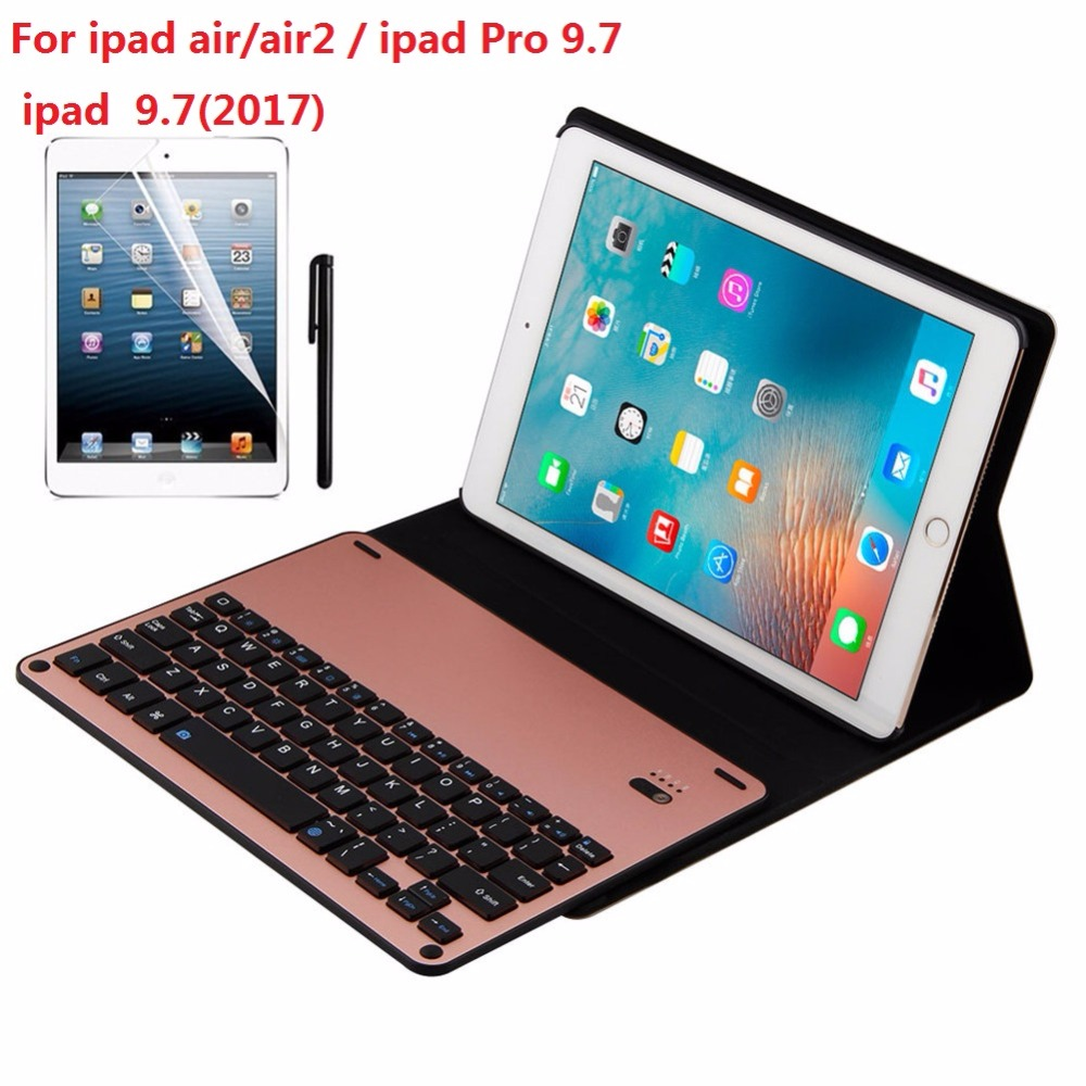 Kemile Environmental PU Case Cover for iPad  air1/air2 Wireless Bluetooth Luxury Aluminum Alloy Keyboard for iPad 9.7 2017 for apple ipad air 2 pu leather case luxury silk pattern stand smart cover