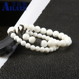 Image 5 - Ailatu מכירה לוהטת תכשיטים סיטונאי 10 סטי 8mm טבעי לבן אבן עם מיקרו פייב Cz כתר זוג צמיד