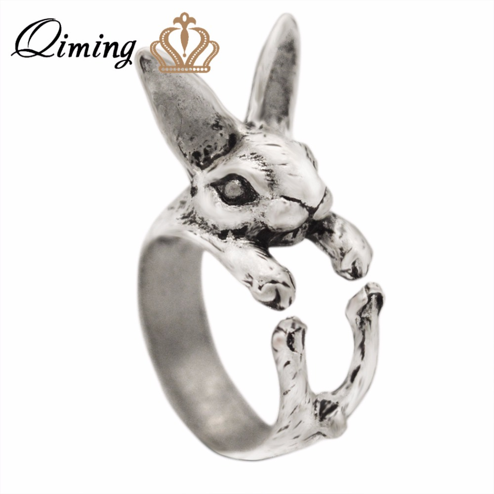 QIMING 2017 New Fashion Rabbit Ring Antique Silver Bunny Shaped Animal Jewelry Around Rings For Women Girl Gift 10pcs/lot
