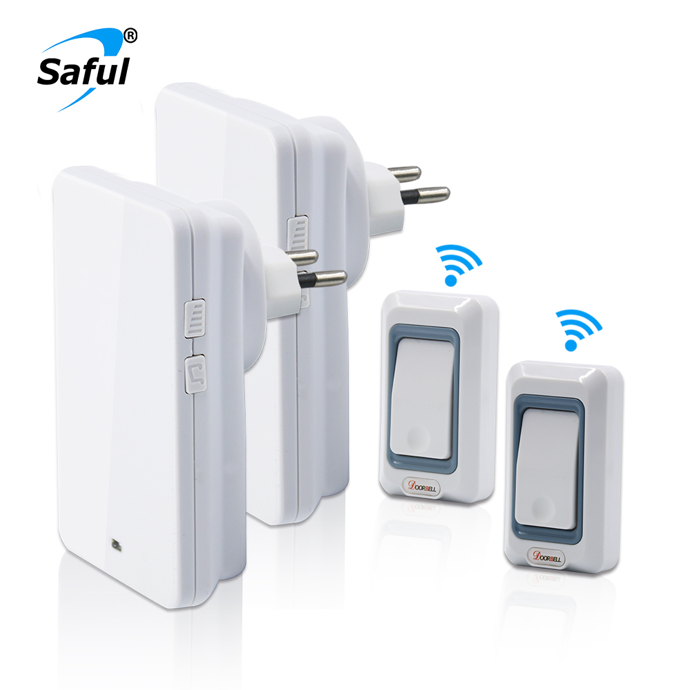 Saful Led Light Waterproof  White Color Wireless Doorbell EU/US/UK/AU plug with 28 Rings 2 Button Transmitter+2 Receiver